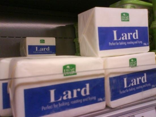 Sticks of lard in a fridge