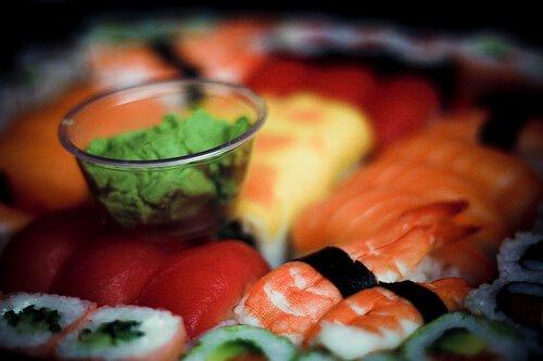 Sushi and wasabi