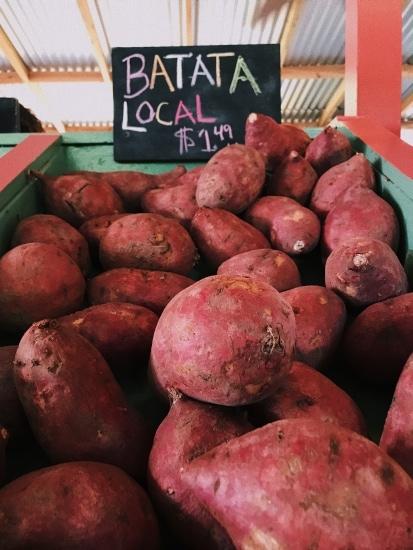 Sweet potatoes on farmer's market