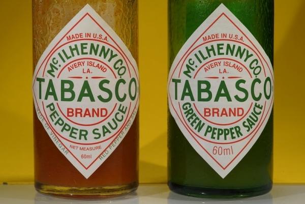 Tabasco pepper and green pepper bottles