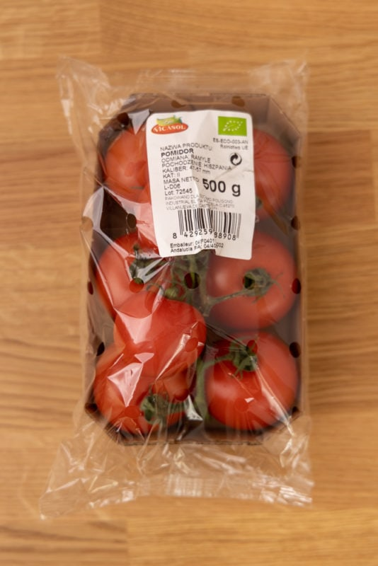 Tomatoes in a carton container
