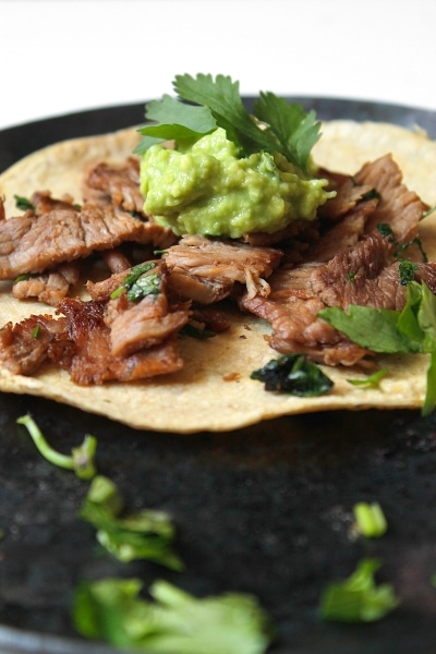 Tortilla and cooked meat