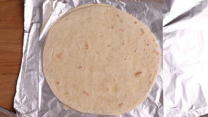 Tortilla separated with breadcrumbs