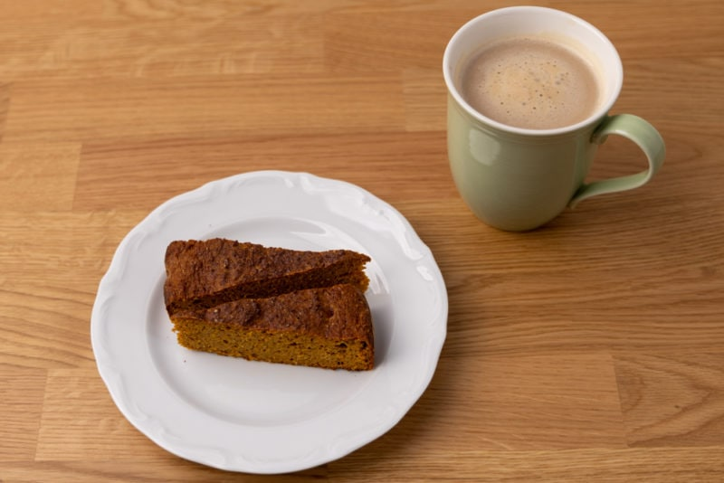 Two pieces of carrot pie and coffee