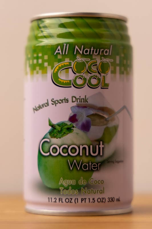 Unopened can of coconut water