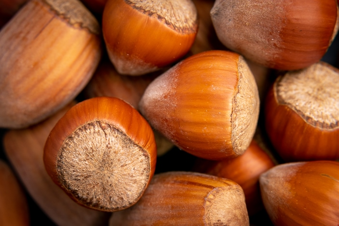Unshelled hazelnuts closeup