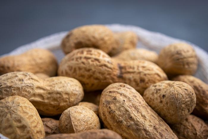 Unshelled peanuts in a mesh bag