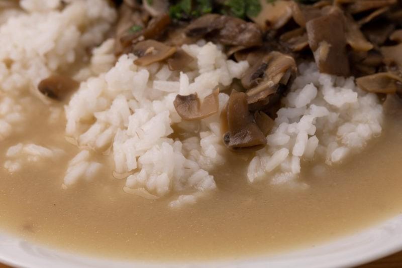 White rice, mushrooms, and sauce
