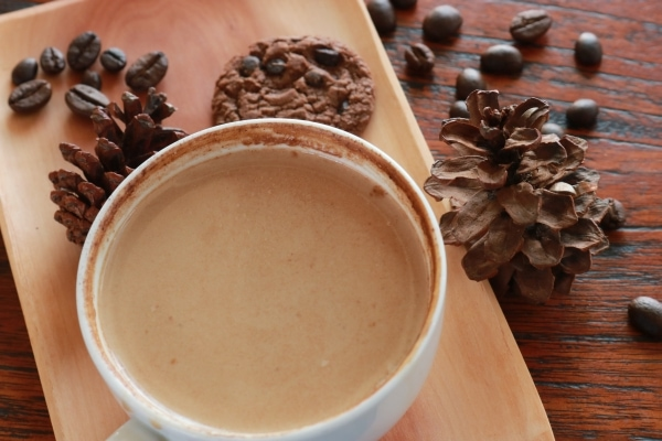 Whitened coffee in a cup