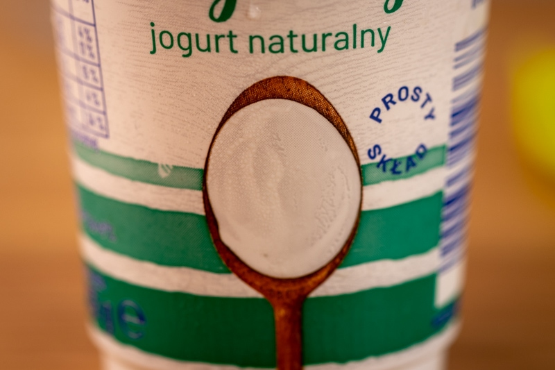Yogurt container closeup