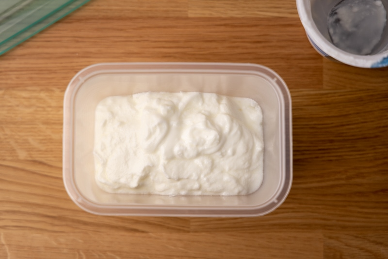 Yogurt in a container