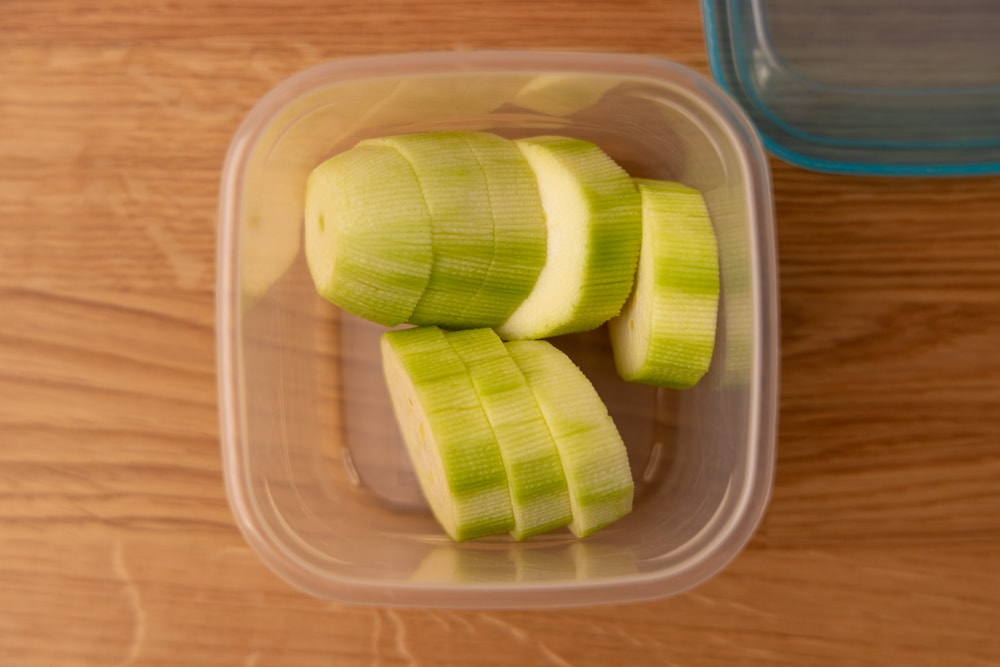 Zucchini slices in an airtight container