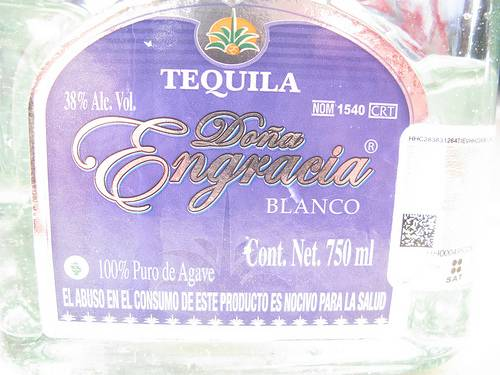 Label on the bottle of tequila