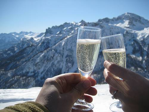 Enjoying the Champagne in a beautiful view